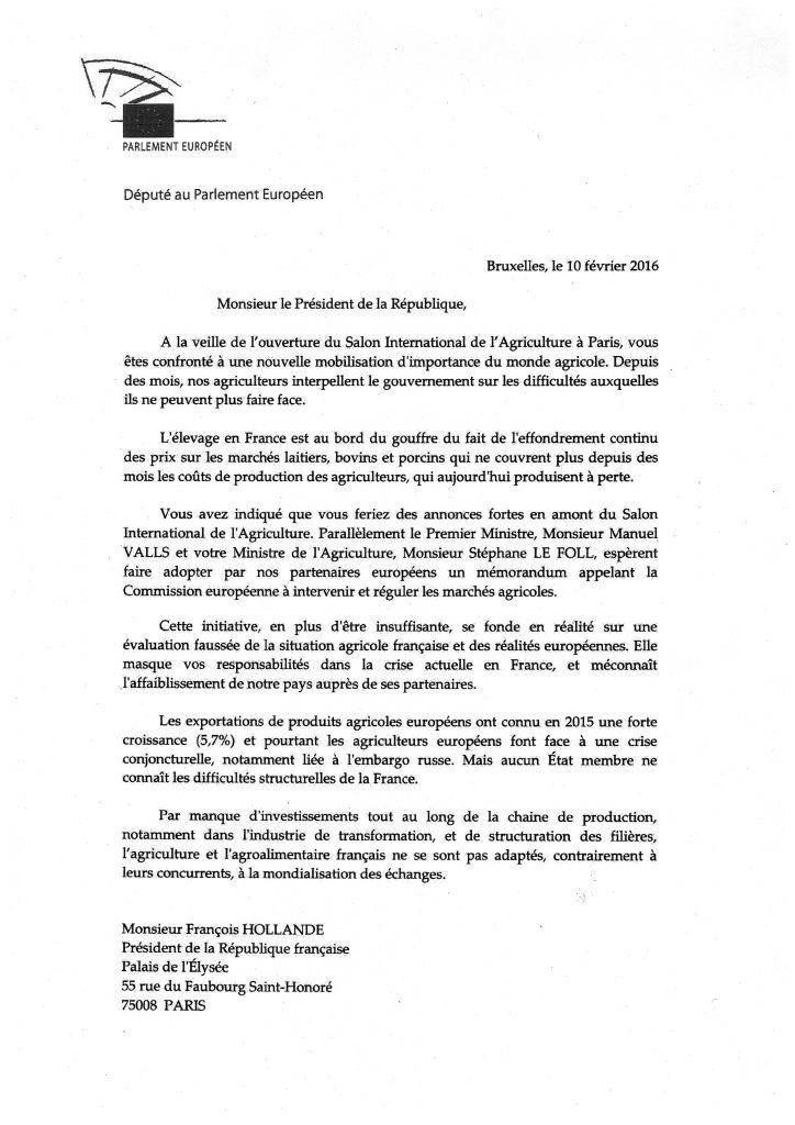 lettre délégation crise agricole 1