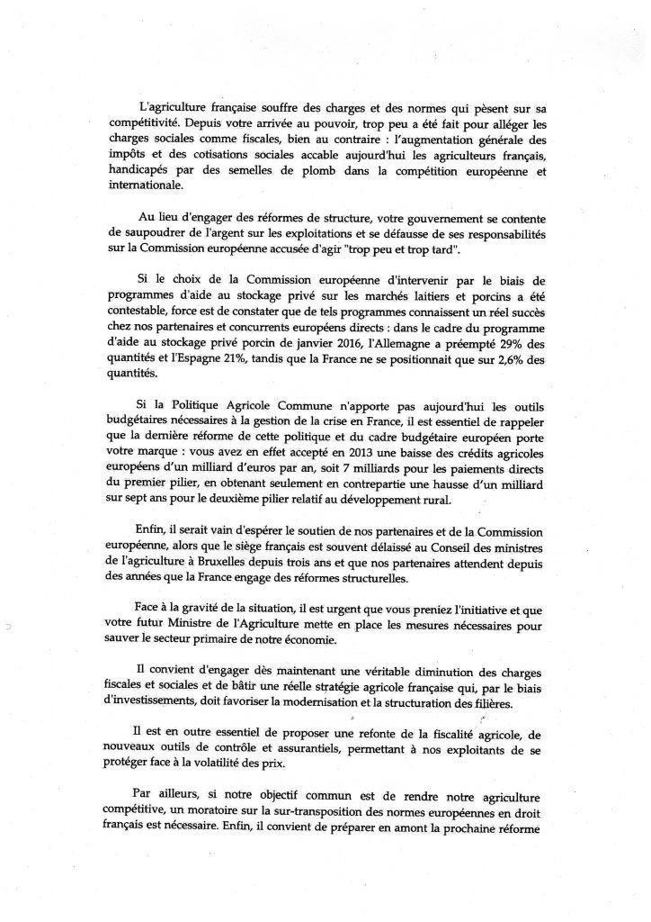 lettre délégation crise agricole 2