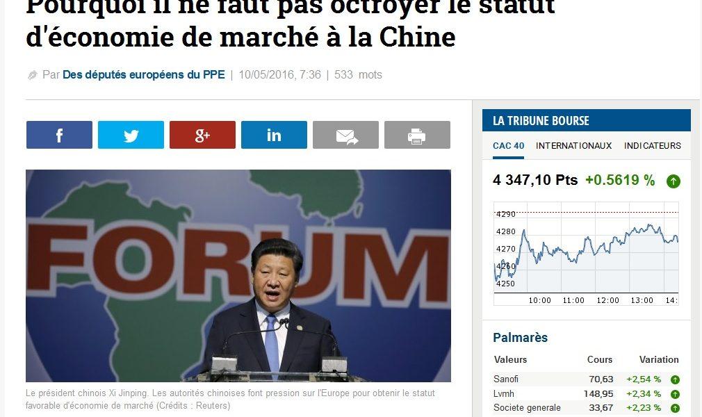 Pourquoi il ne faut pas octroyer le statut d'économie de marché à la Chine